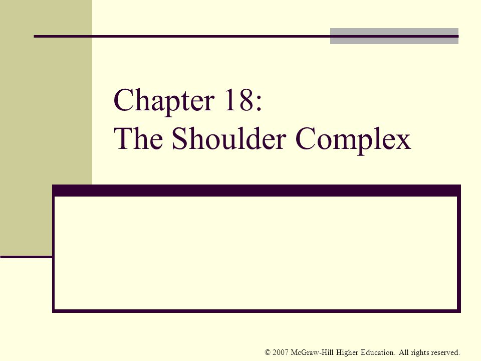 © 2007 McGraw-Hill Higher Education. All rights reserved. Chapter 18: The Shoulder Complex