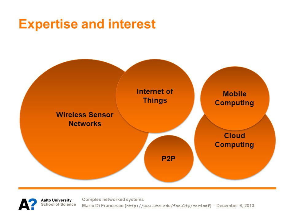 Complex networked systems Mario Di Francesco ( http://www.uta.edu/faculty/mariodf ) – December 6, 2013 Expertise and interest Cloud Computing Wireless Sensor Networks Mobile Computing Mobile Computing P2P Internet of Things Internet of Things