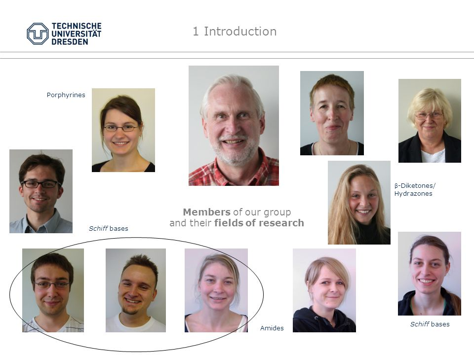 Members of our group and their fields of research Porphyrines Schiff bases β -Diketones/ Hydrazones Amides Schiff bases 1 Introduction