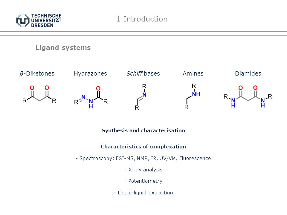 Ligand systems Schiff basesβ-DiketonesDiamidesAmines Synthesis and characterisation Characteristics of complexation - Spectroscopy: ESI-MS, NMR, IR, UV/Vis, Fluorescence - X-ray analysis - Potentiometry - Liquid-liquid extraction 1 Introduction Hydrazones