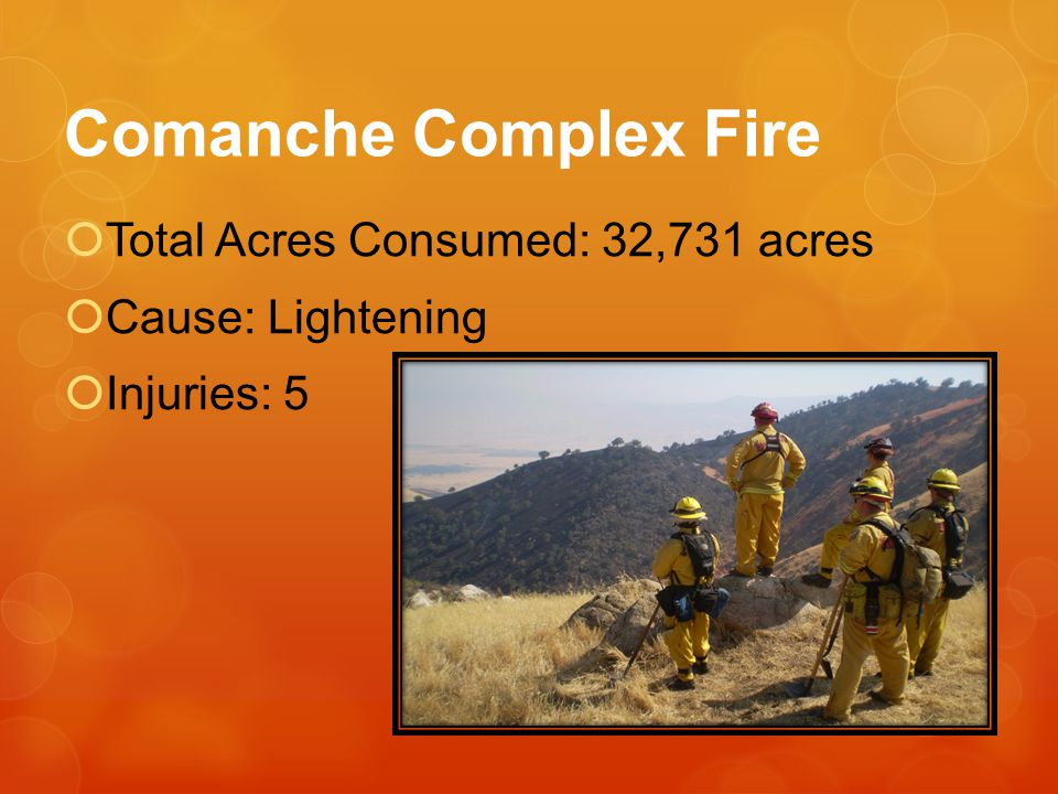Comanche Complex Fire Total Acres Consumed: 32,731 acres Cause: Lightening Injuries: 5
