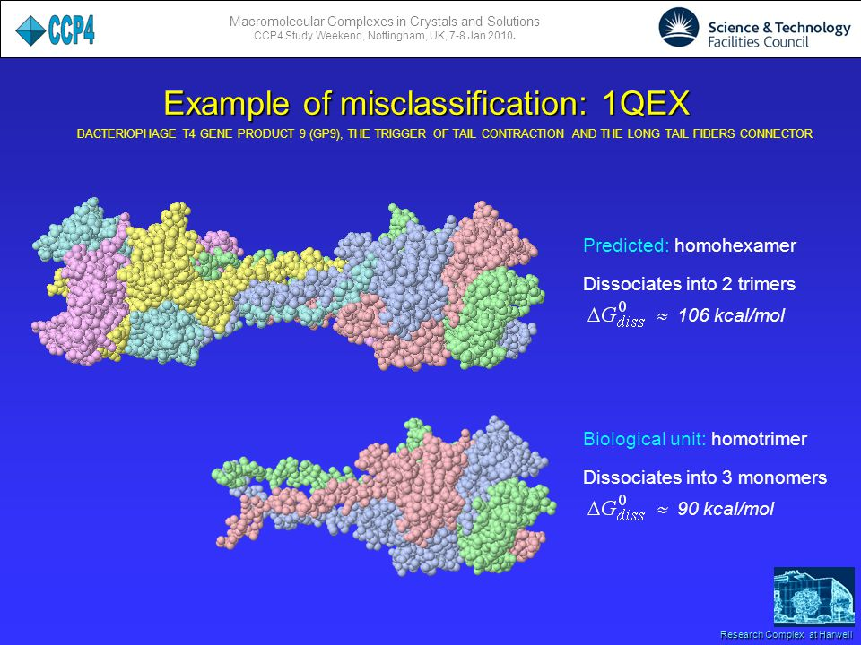 Macromolecular Complexes in Crystals and Solutions CCP4 Study Weekend, Nottingham, UK, 7-8 Jan 2010. Research Complex at Harwell Example of misclassif