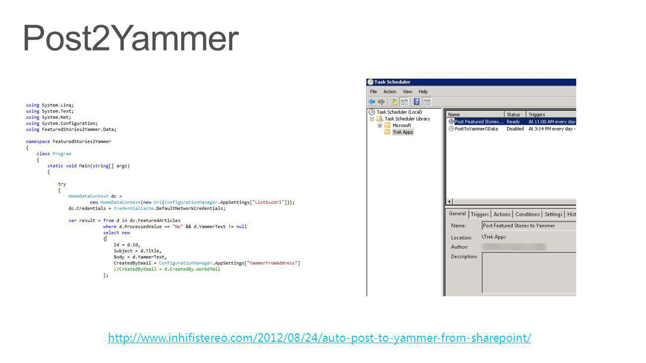 http://www.inhifistereo.com/2012/08/24/auto-post-to-yammer-from-sharepoint/