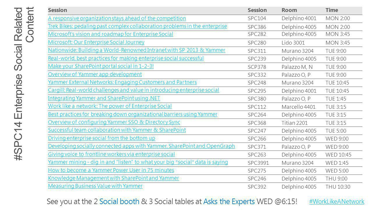 See you at the 2 Social booth & 3 Social tables at Asks the Experts