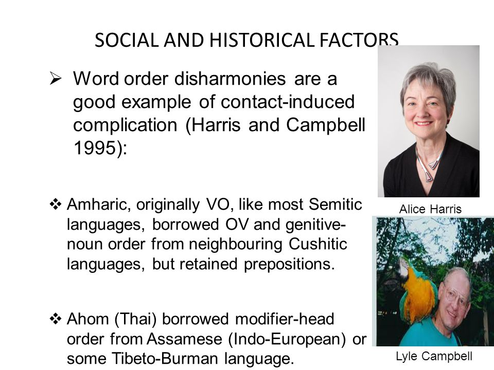 SOCIAL AND HISTORICAL FACTORS Word order disharmonies are a good example of contact-induced complication (Harris and Campbell 1995): Amharic, originally VO, like most Semitic languages, borrowed OV and genitive- noun order from neighbouring Cushitic languages, but retained prepositions.