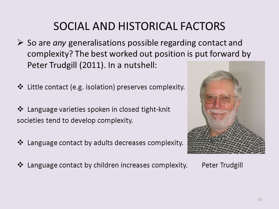 SOCIAL AND HISTORICAL FACTORS So are any generalisations possible regarding contact and complexity.