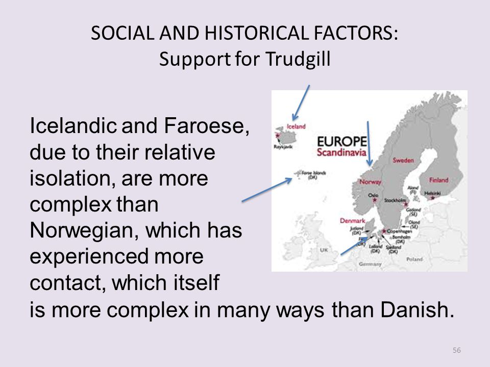 SOCIAL AND HISTORICAL FACTORS: Support for Trudgill Icelandic and Faroese, due to their relative isolation, are more complex than Norwegian, which has experienced more contact, which itself 56 is more complex in many ways than Danish.