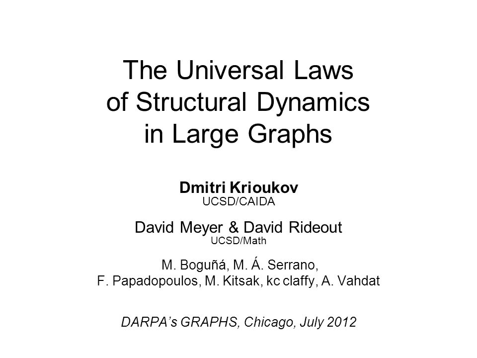 The Universal Laws of Structural Dynamics in Large Graphs Dmitri Krioukov UCSD/CAIDA David Meyer & David Rideout UCSD/Math M. Boguñá, M. Á. Serrano, F