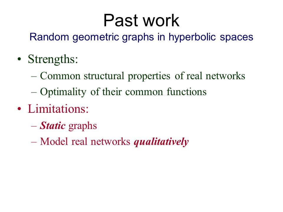 Past work Random geometric graphs in hyperbolic spaces Strengths: –Common structural properties of real networks –Optimality of their common functions