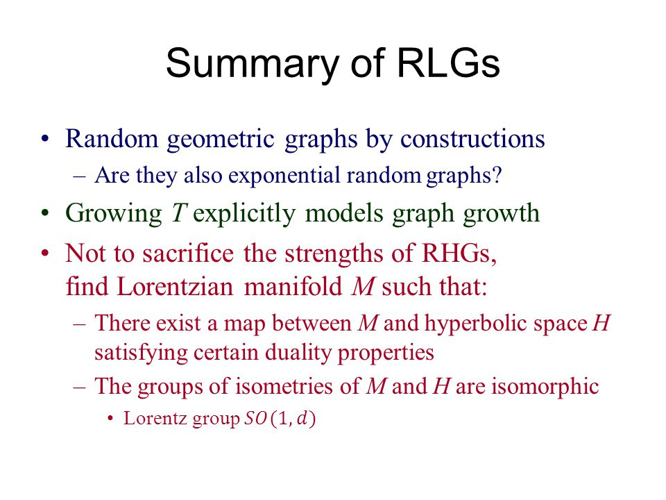 Summary of RLGs