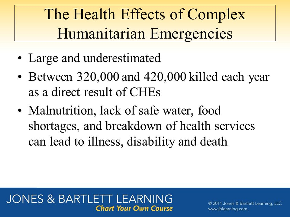 The Health Effects of Complex Humanitarian Emergencies Large and underestimated Between 320,000 and 420,000 killed each year as a direct result of CHEs Malnutrition, lack of safe water, food shortages, and breakdown of health services can lead to illness, disability and death