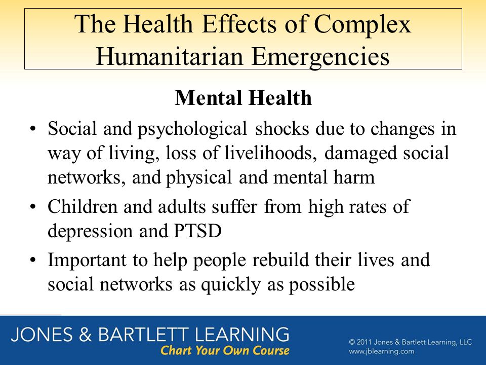 The Health Effects of Complex Humanitarian Emergencies Mental Health Social and psychological shocks due to changes in way of living, loss of livelihoods, damaged social networks, and physical and mental harm Children and adults suffer from high rates of depression and PTSD Important to help people rebuild their lives and social networks as quickly as possible