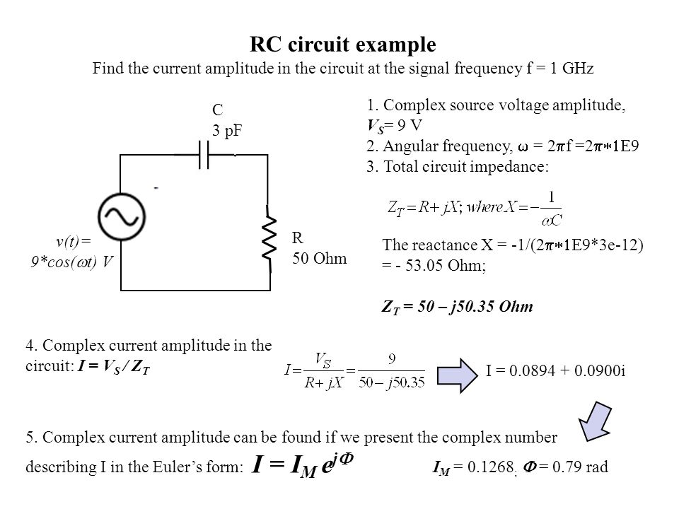 v(t)= 9*cos( t) V C 3 pF R 50 Ohm RC circuit example Find the current amplitude in the circuit at the signal frequency f = 1 GHz 1. Complex source vol