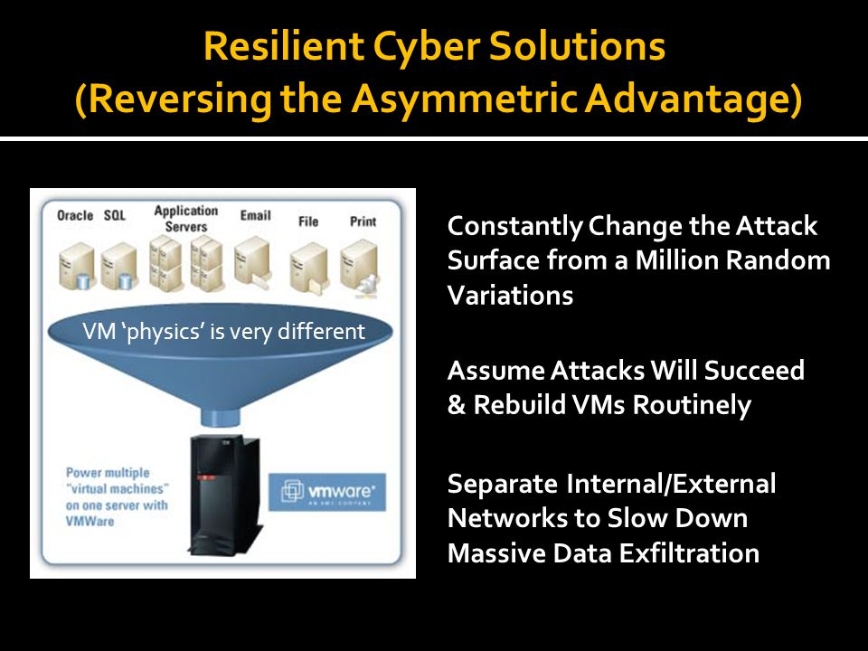 Resilient Cyber Solutions (Reversing the Asymmetric Advantage) Assume Attacks Will Succeed & Rebuild VMs Routinely VM physics is very different Constantly Change the Attack Surface from a Million Random Variations Separate Internal/External Networks to Slow Down Massive Data Exfiltration