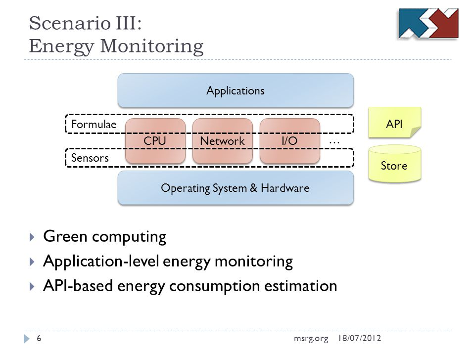 Scenario III: Energy Monitoring Green computing Application-level energy monitoring API-based energy consumption estimation Operating System & Hardware Applications CPU Network I/O Formulae Sensors … Store API 18/07/20126msrg.org