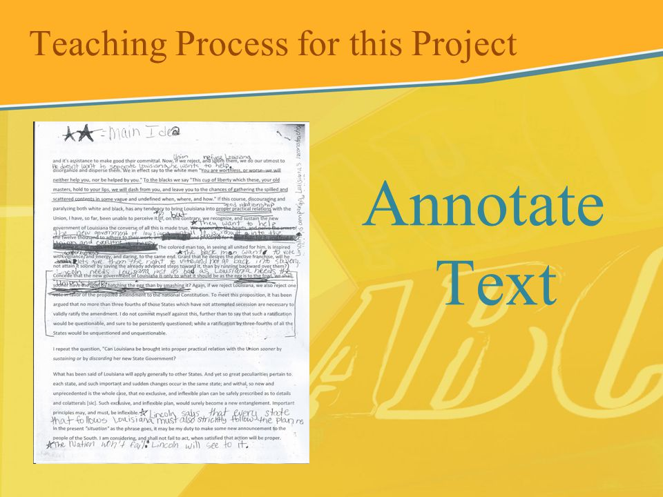 Teaching Process for this Project Annotate Text