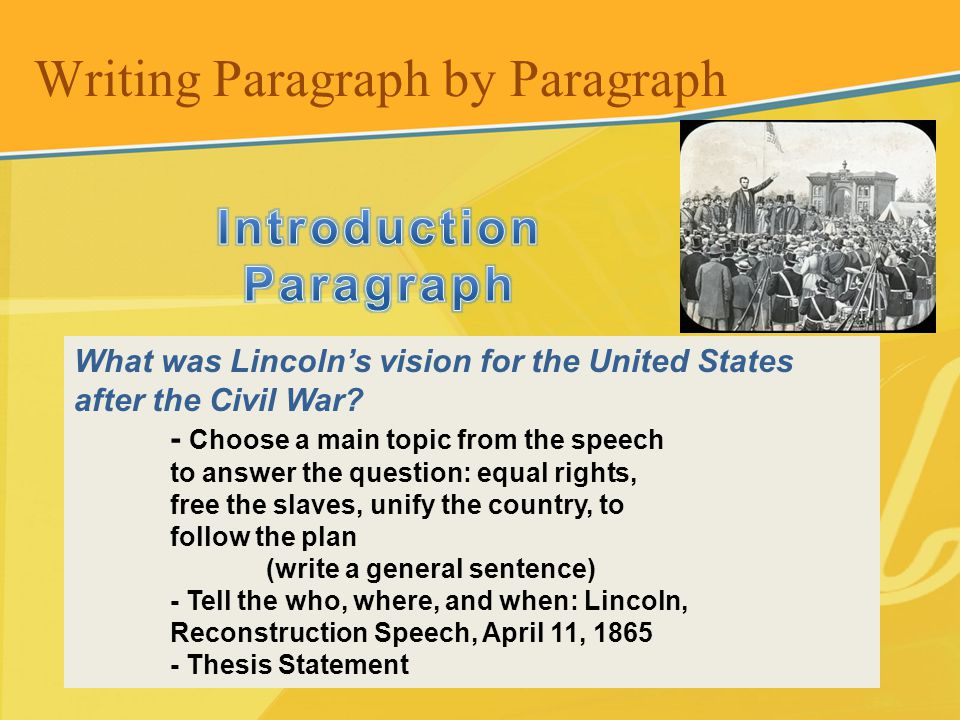 What was Lincolns vision for the United States after the Civil War? - Choose a main topic from the speech to answer the question: equal rights, free t