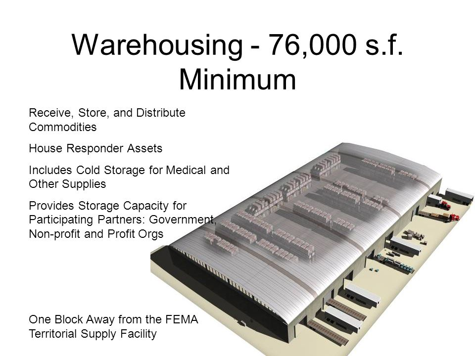 Warehousing - 76,000 s.f. Minimum Receive, Store, and Distribute Commodities House Responder Assets Includes Cold Storage for Medical and Other Suppli
