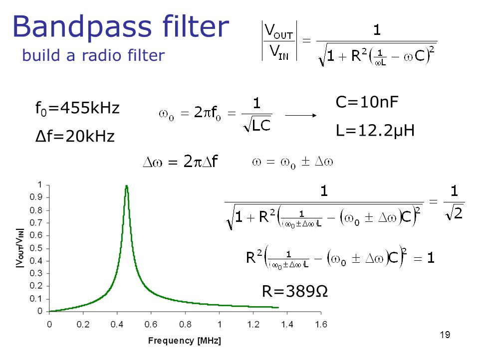 Bandpass filter build a radio filter f 0 =455kHz Δf=20kHz C=10nF L=12.2μH R=389Ω 19