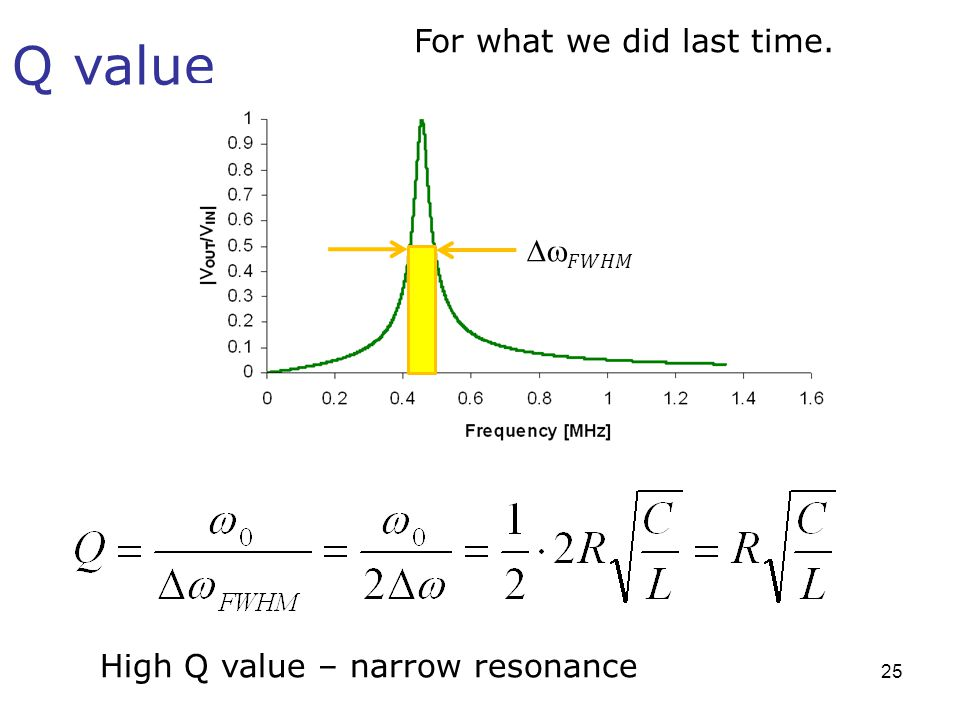 Q value For what we did last time. High Q value – narrow resonance 25