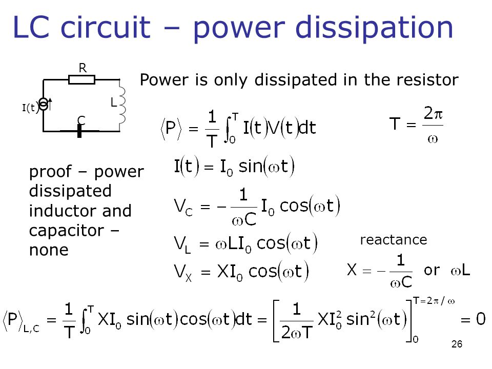 LC circuit – power dissipation Power is only dissipated in the resistor proof – power dissipated inductor and capacitor – none reactance L R C I(t ) 2