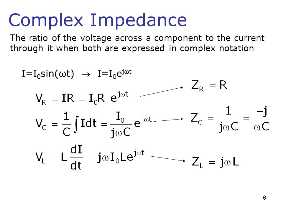 Complex Impedance The ratio of the voltage across a component to the current through it when both are expressed in complex notation I=I 0 sin(ωt) I=I