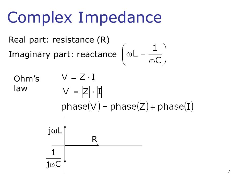 Complex Impedance Real part: resistance (R) Imaginary part: reactance jωLjωL R Ohms law 7