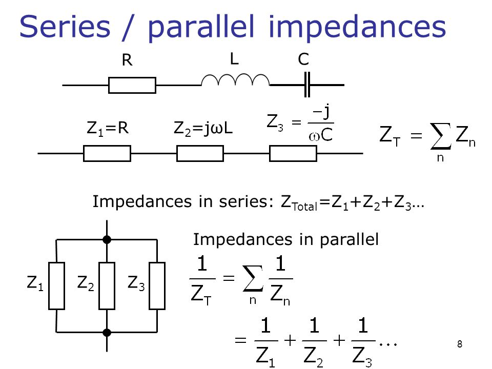 Series / parallel impedances Z 1 =RZ 2 =jωL Impedances in series: Z Total =Z 1 +Z 2 +Z 3 … Z1Z1 Z2Z2 Z3Z3 Impedances in parallel L R C 8