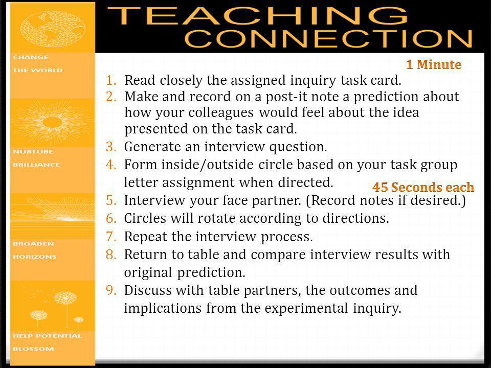 1.Read closely the assigned inquiry task card. 2.