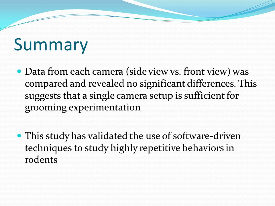 Summary Data from each camera (side view vs. front view) was compared and revealed no significant differences. This suggests that a single camera setu