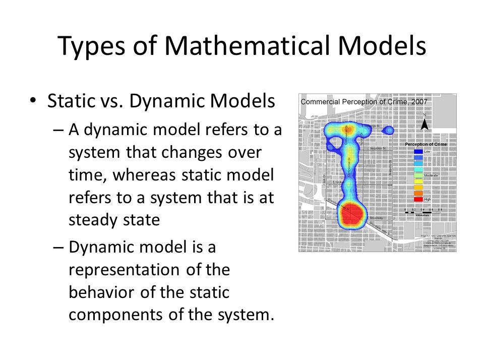 Types of Mathematical Models Static vs. Dynamic Models – A dynamic model refers to a system that changes over time, whereas static model refers to a s