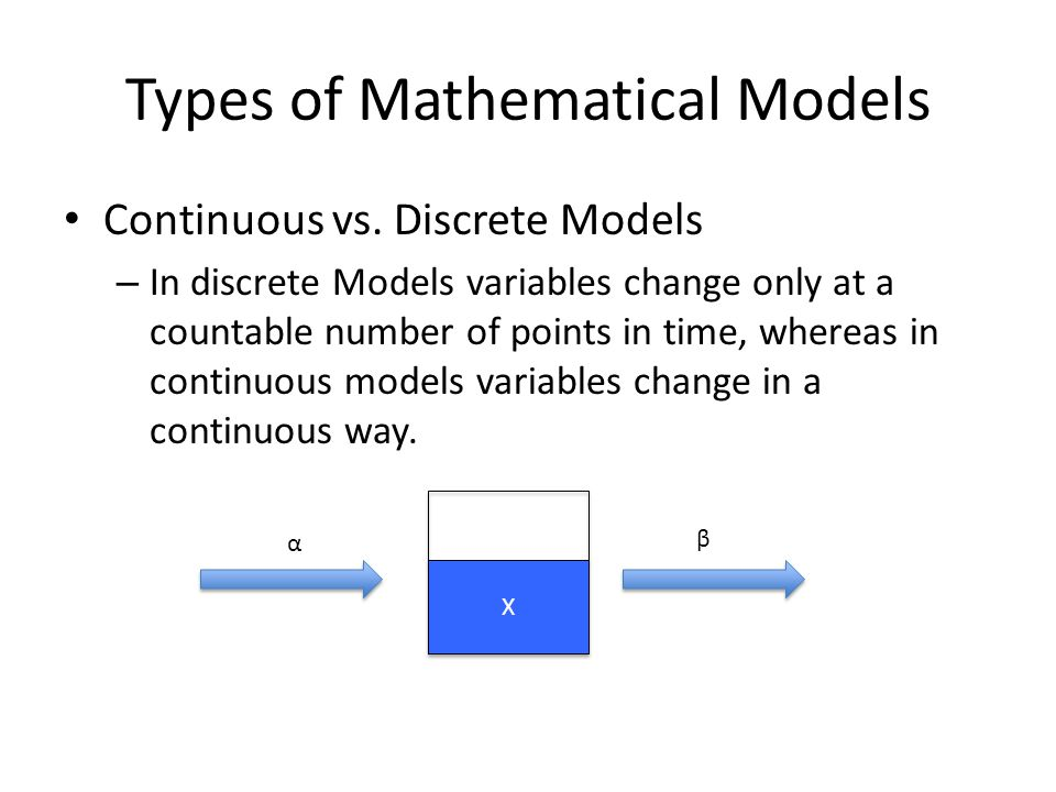 Types of Mathematical Models Continuous vs. Discrete Models – In discrete Models variables change only at a countable number of points in time, wherea