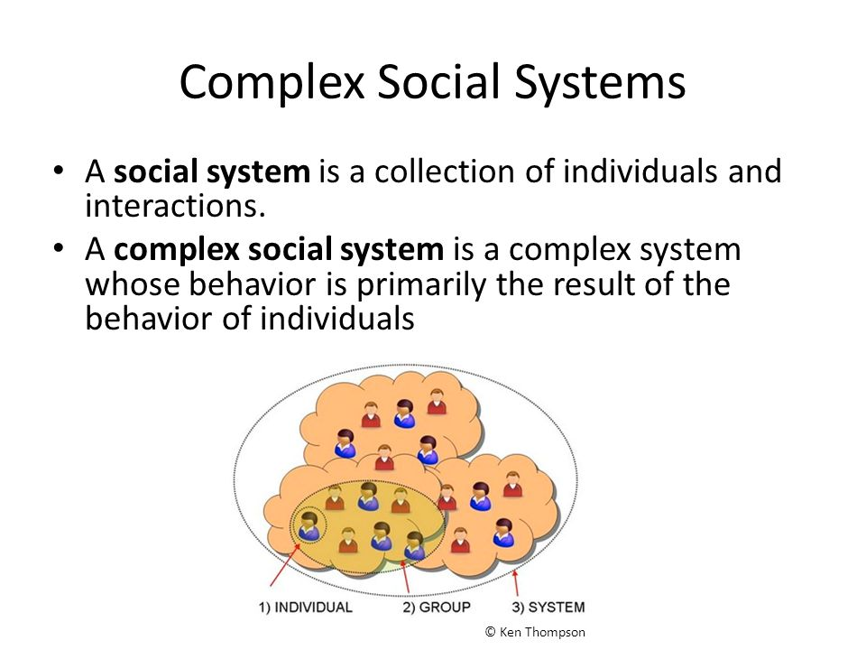 Complex Social Systems A social system is a collection of individuals and interactions. A complex social system is a complex system whose behavior is