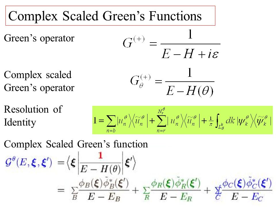 Complex Scaled Greens Functions Greens operator Resolution of Identity Complex Scaled Greens function Complex scaled Greens operator