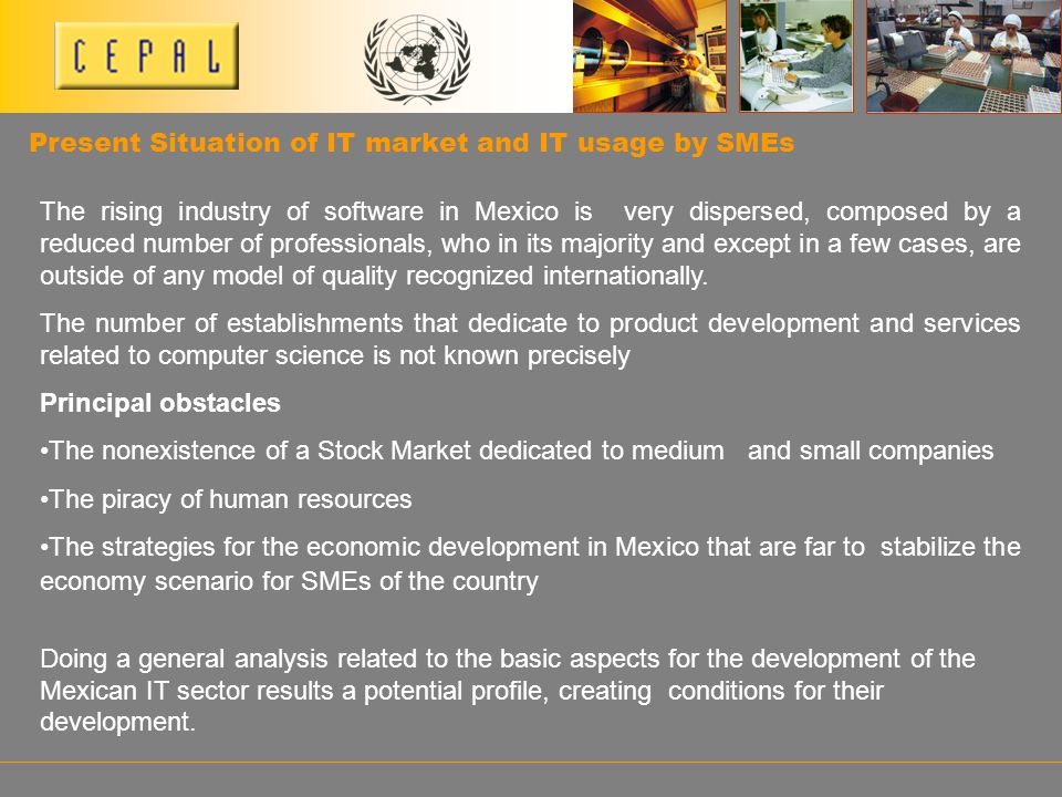 Present Situation of IT market and IT usage by SMEs The rising industry of software in Mexico is very dispersed, composed by a reduced number of profe