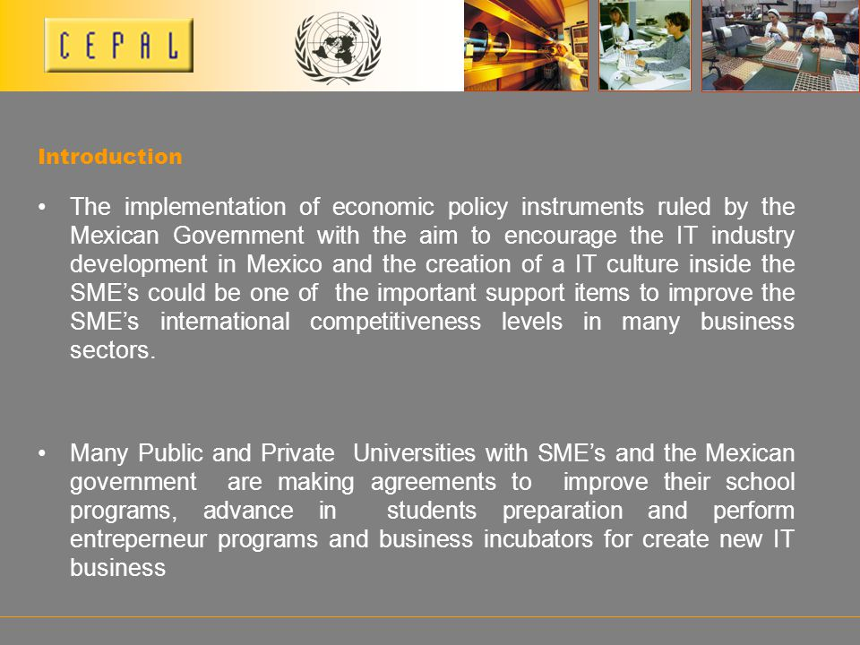 Introduction The implementation of economic policy instruments ruled by the Mexican Government with the aim to encourage the IT industry development i