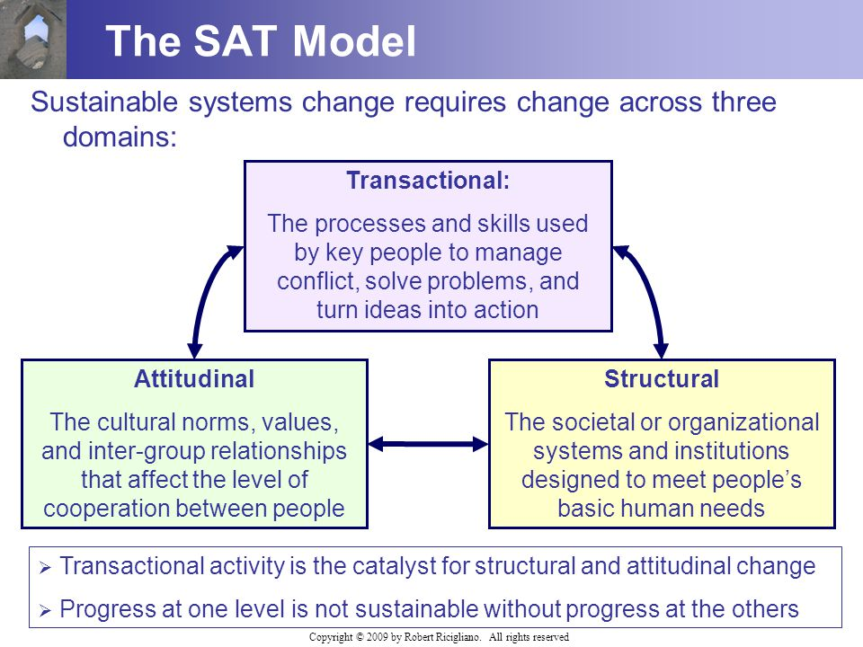 Copyright © 2009 by Robert Ricigliano. All rights reserved The SAT Model Sustainable systems change requires change across three domains: Transactiona