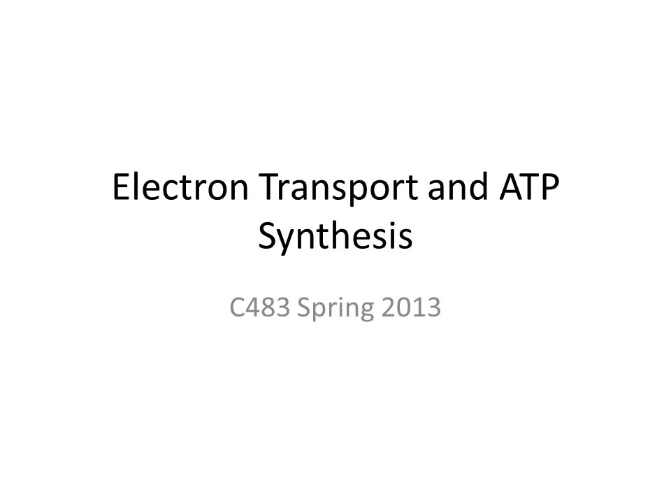 Electron Transport and ATP Synthesis C483 Spring 2013