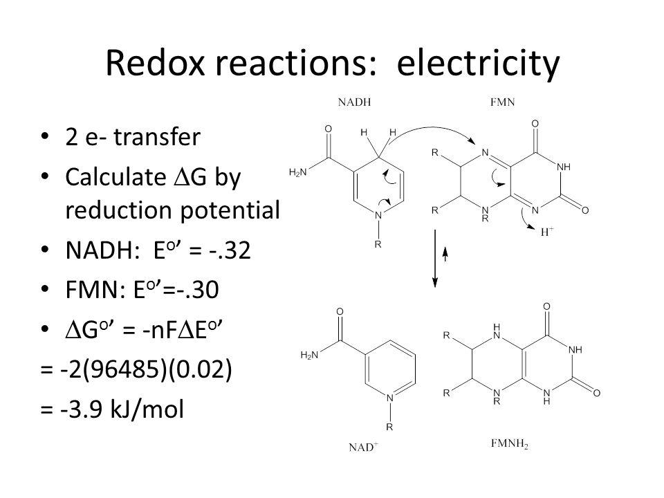 Redox reactions: electricity 2 e- transfer Calculate G by reduction potential NADH: E o = -.32 FMN: E o =-.30 G o = -nF E o = -2(96485)(0.02) = -3.9 kJ/mol