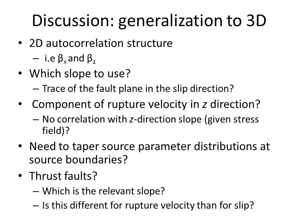 Discussion: generalization to 3D 2D autocorrelation structure – i.e β x and β z Which slope to use.