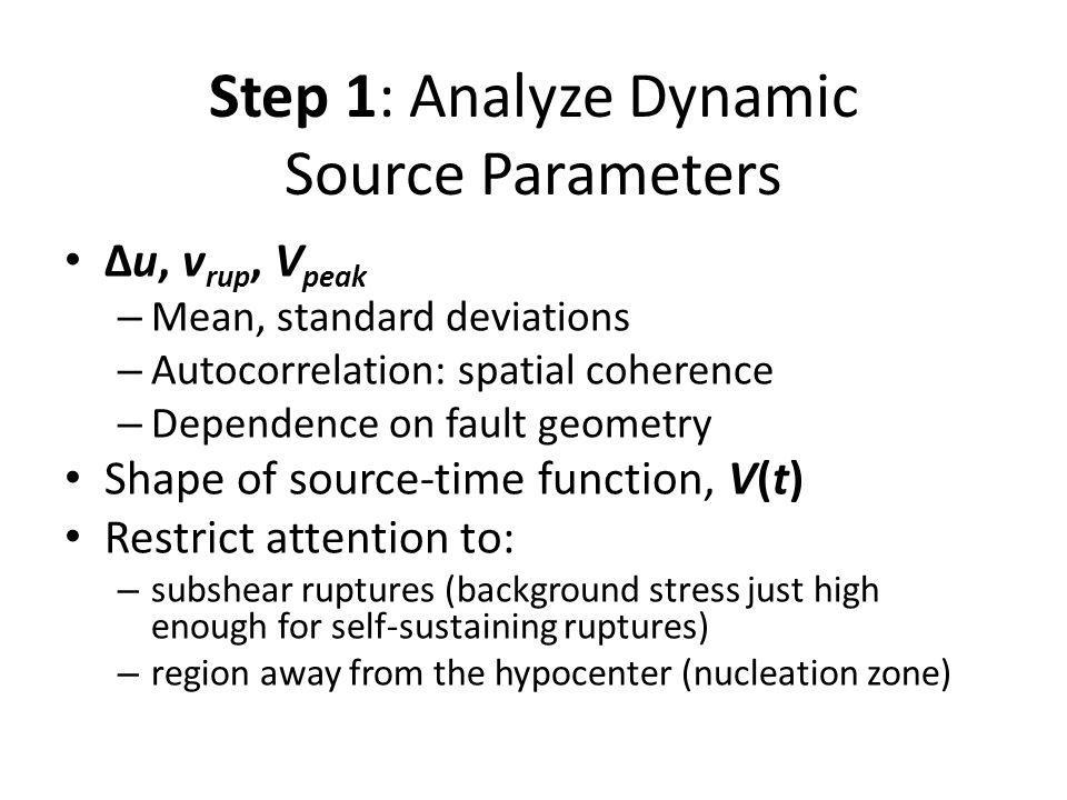 Step 1: Analyze Dynamic Source Parameters Δu, v rup, V peak – Mean, standard deviations – Autocorrelation: spatial coherence – Dependence on fault geo