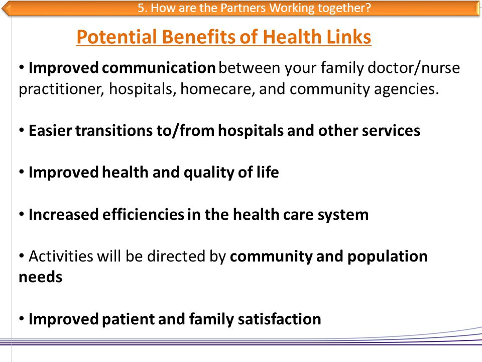 Improved communication between your family doctor/nurse practitioner, hospitals, homecare, and community agencies. Easier transitions to/from hospital