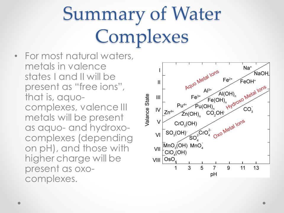 Summary of Water Complexes For most natural waters, metals in valence states I and II will be present as free ions, that is, aquo- complexes, valence
