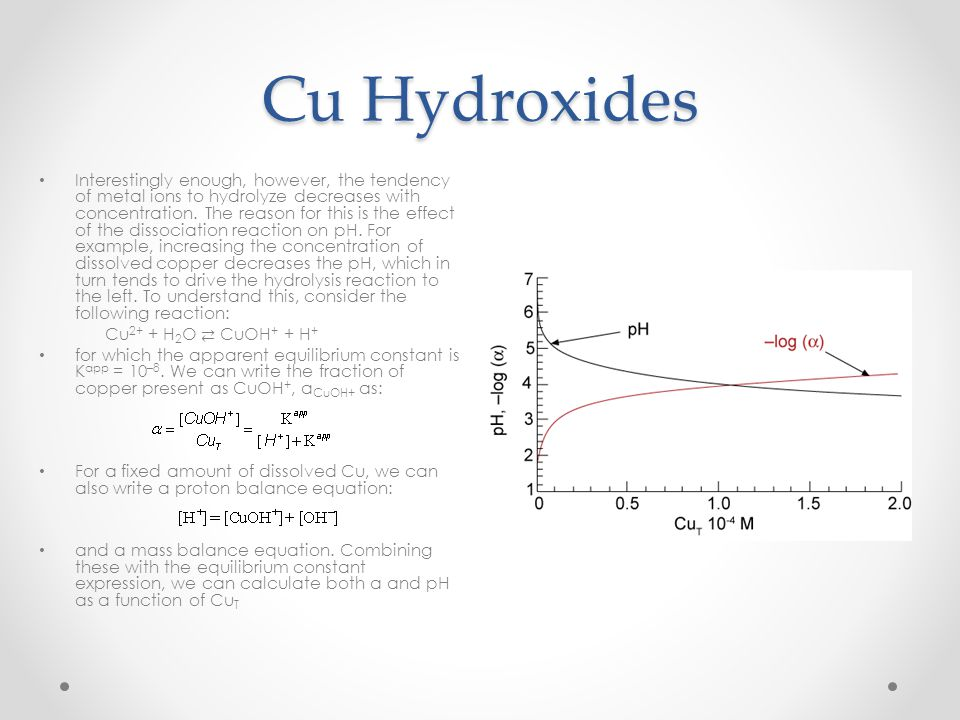 Cu Hydroxides Interestingly enough, however, the tendency of metal ions to hydrolyze decreases with concentration. The reason for this is the effect o