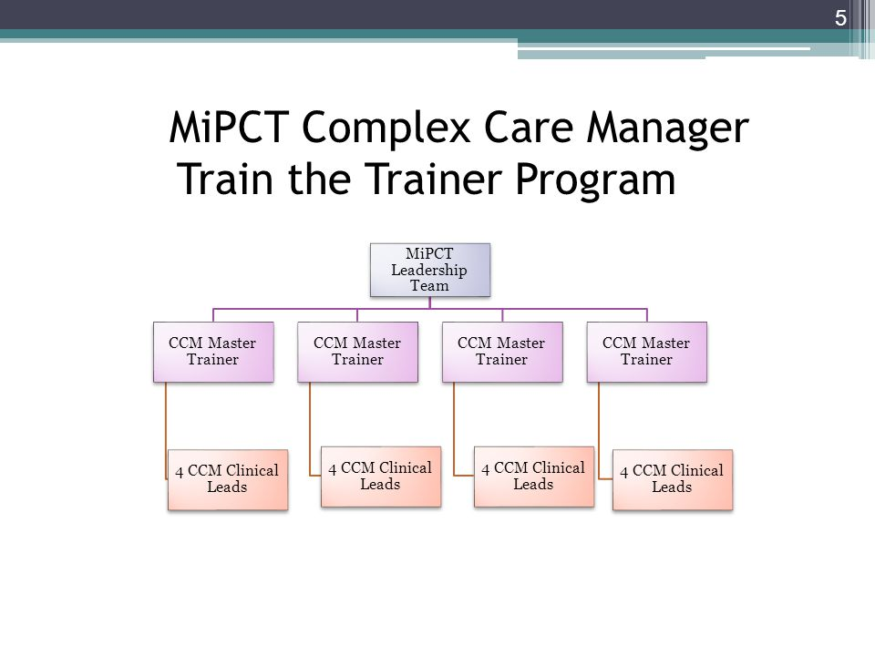 5 MiPCT Leadership Team CCM Master Trainer 4 CCM Clinical Leads CCM Master Trainer 4 CCM Clinical Leads CCM Master Trainer 4 CCM Clinical Leads CCM Ma