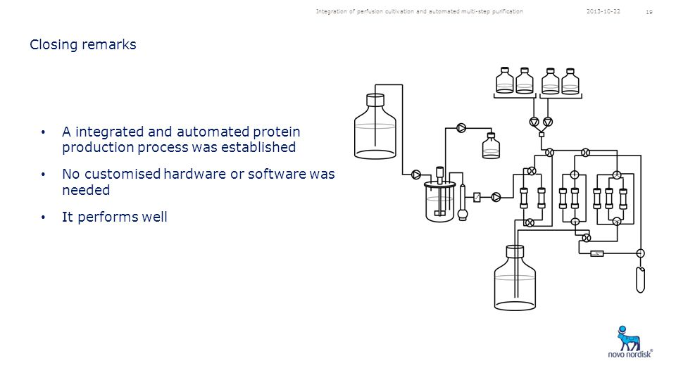 Integration of perfusion cultivation and automated multi-step purification 19 A integrated and automated protein production process was established No customised hardware or software was needed It performs well Closing remarks 2013-10-22