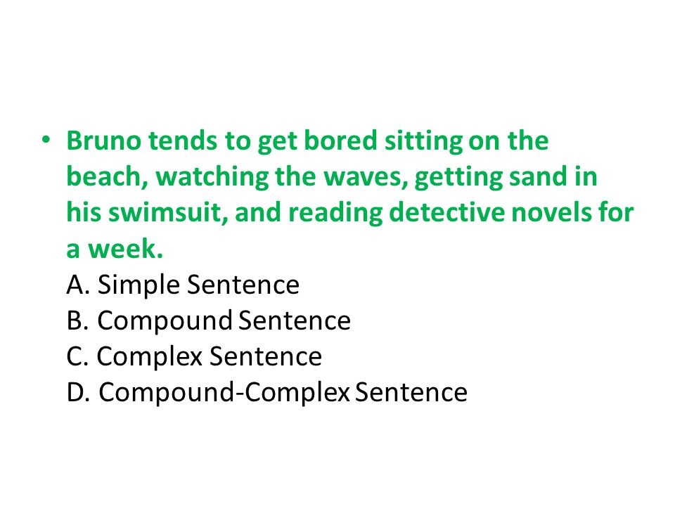 Bruno tends to get bored sitting on the beach, watching the waves, getting sand in his swimsuit, and reading detective novels for a week. A. Simple Se