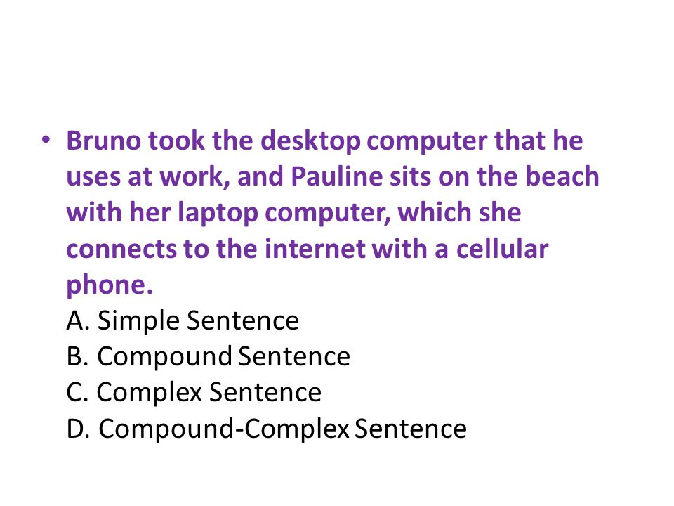 Bruno took the desktop computer that he uses at work, and Pauline sits on the beach with her laptop computer, which she connects to the internet with