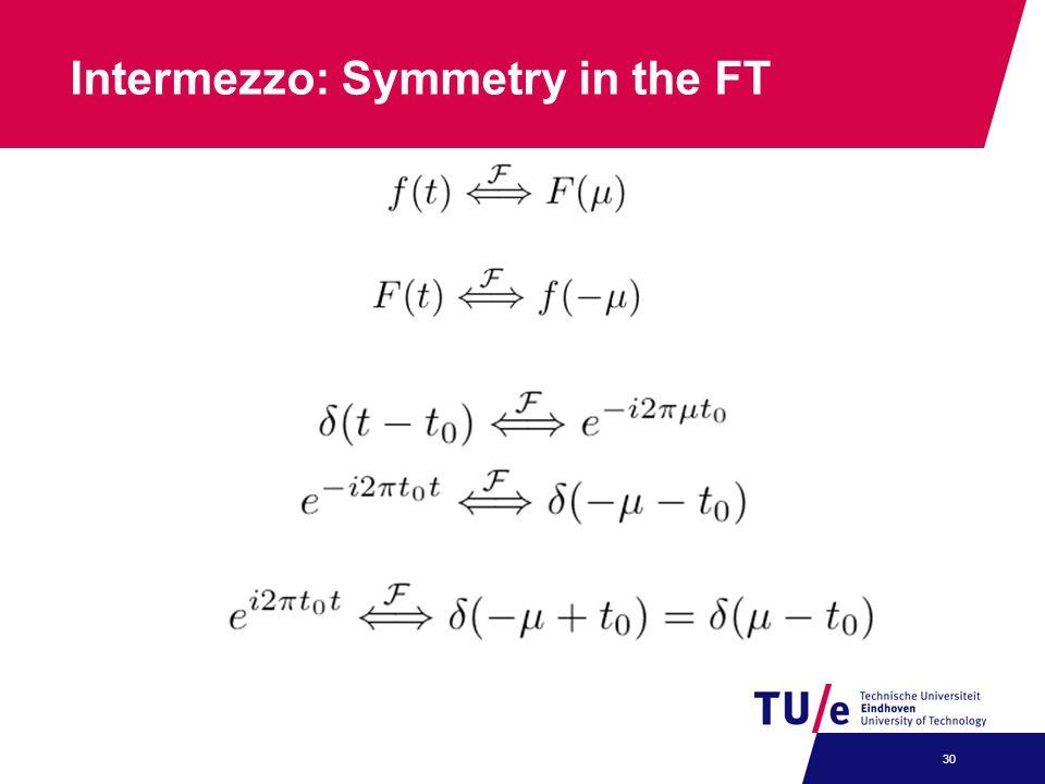 Intermezzo: Symmetry in the FT 30