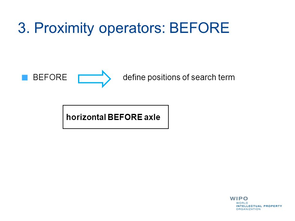 3. Proximity operators: BEFORE BEFORE define positions of search term horizontal BEFORE axle